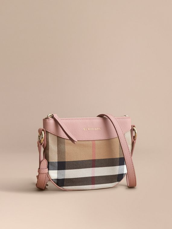 House Check and Leather Crossbody Bag in Pale Orchid | Burberry