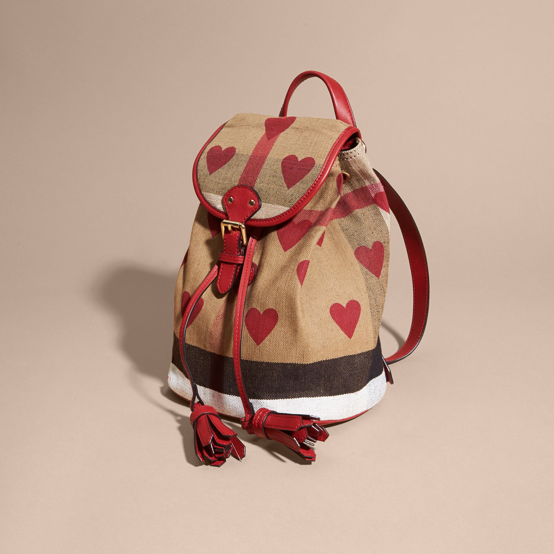 Parade red Heart Print Canvas Check Mini Backpack - gallery image 3