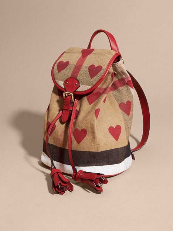 Parade red Heart Print Canvas Check Mini Backpack - cell image 2