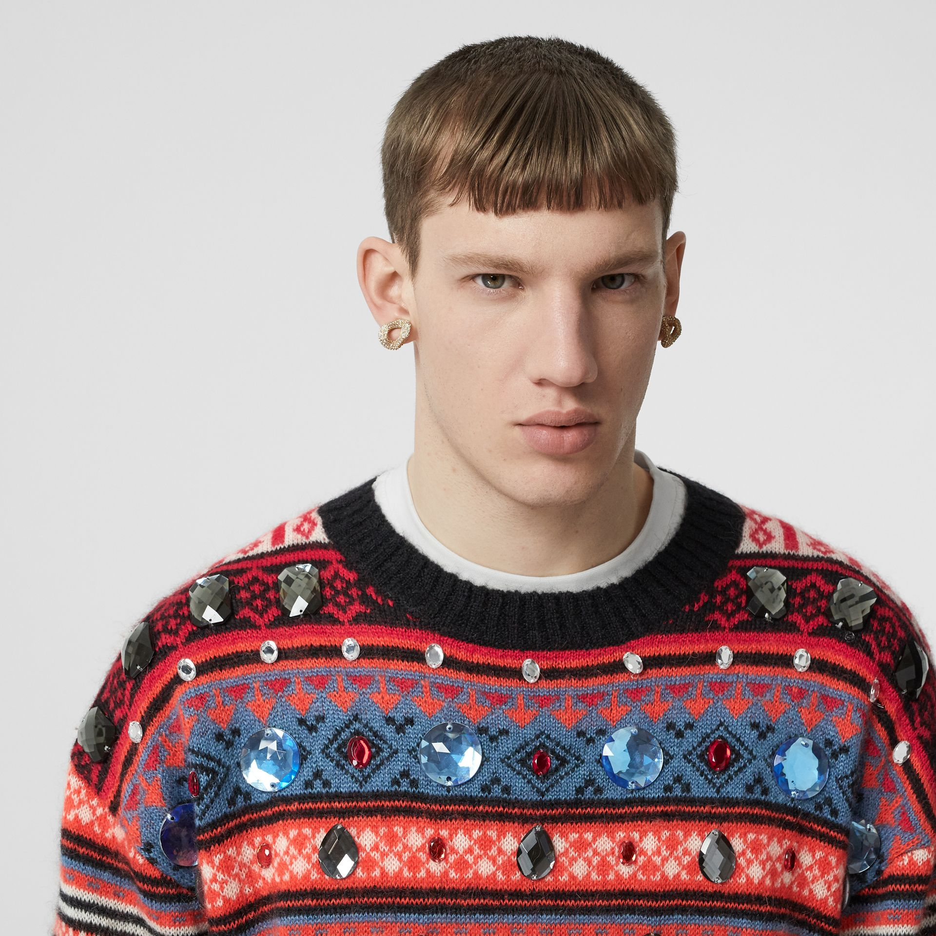 Embellished Fair Isle Mohair Wool Blend Sweater in Bright Orange - Men | Burberry Australia - gallery image 5