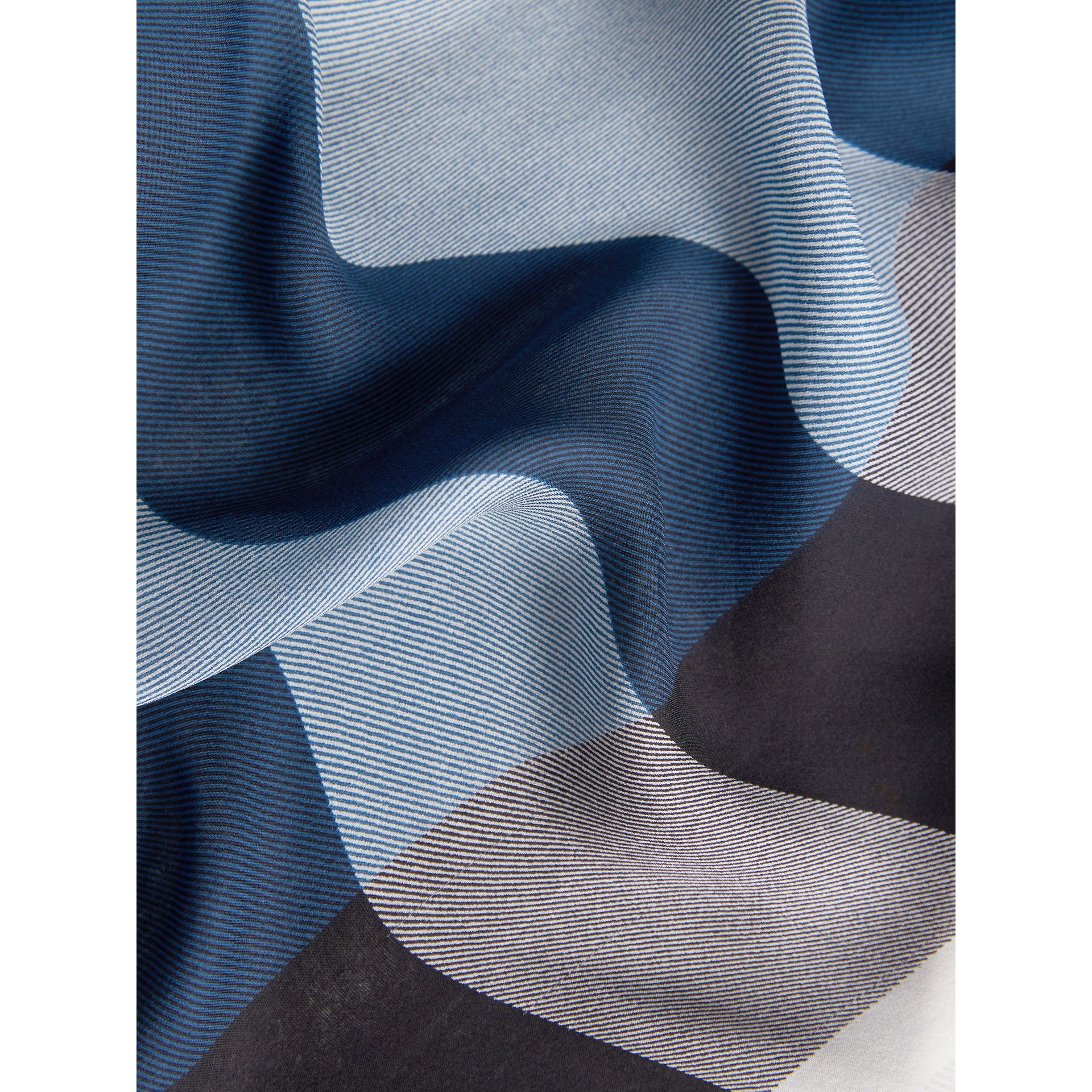 Lightweight Check Silk Scarf in Cadet Blue - Women | Burberry Singapore - gallery image 2