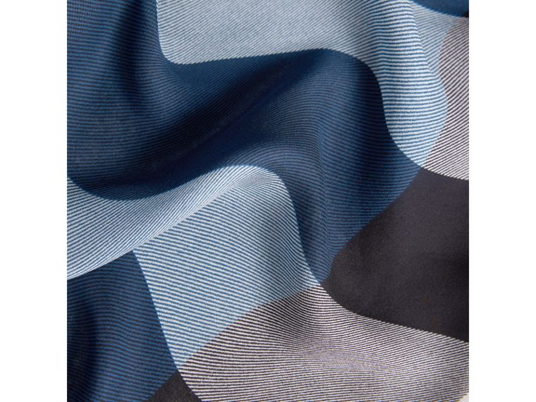 Lightweight Check Silk Scarf in Cadet Blue - Women | Burberry - cell image 1