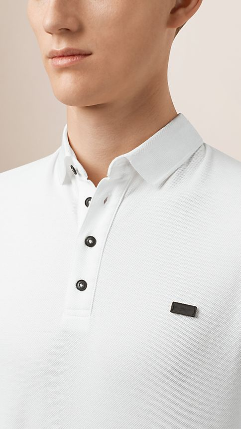 White Double-Weave Piqué Cotton Polo Shirt - Image 3