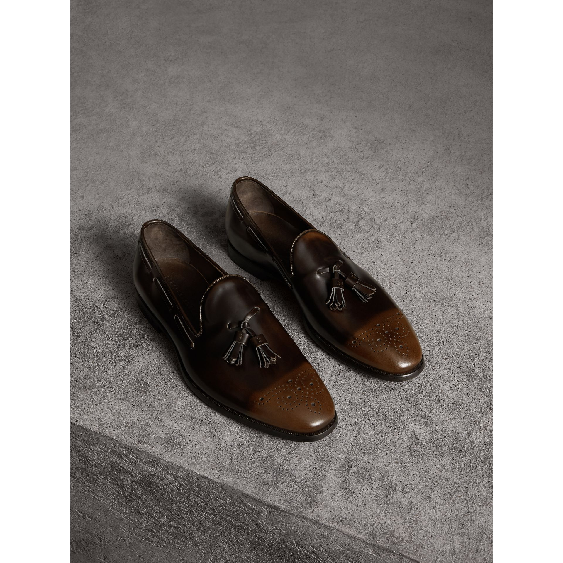 Tasselled Patent Leather Loafers in Chocolate Brown - Men | Burberry - gallery image 1