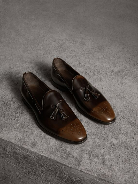 Tasselled Patent Leather Loafers in Chocolate Brown