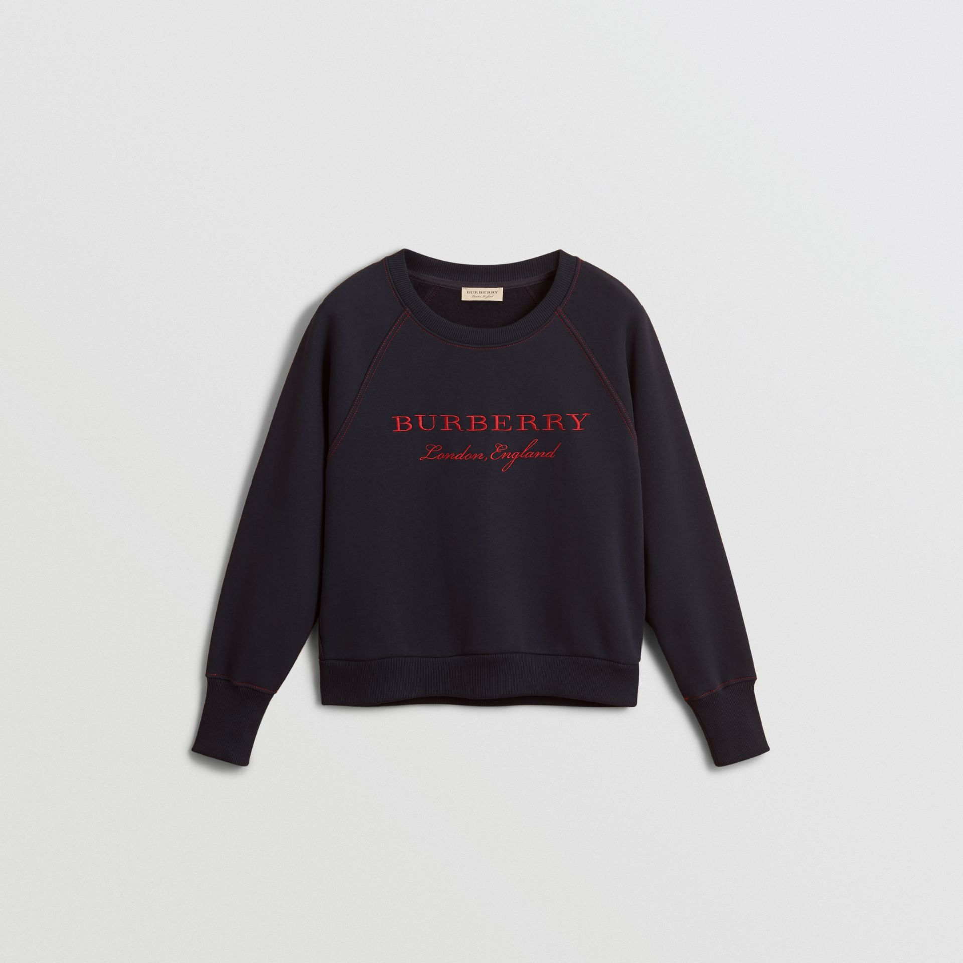Embroidered Cotton Blend Jersey Sweatshirt in Navy - Women | Burberry - gallery image 3