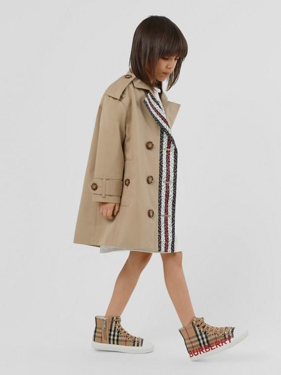 Trench coat en algodón con motivo de rayas y monogramas (Miel)