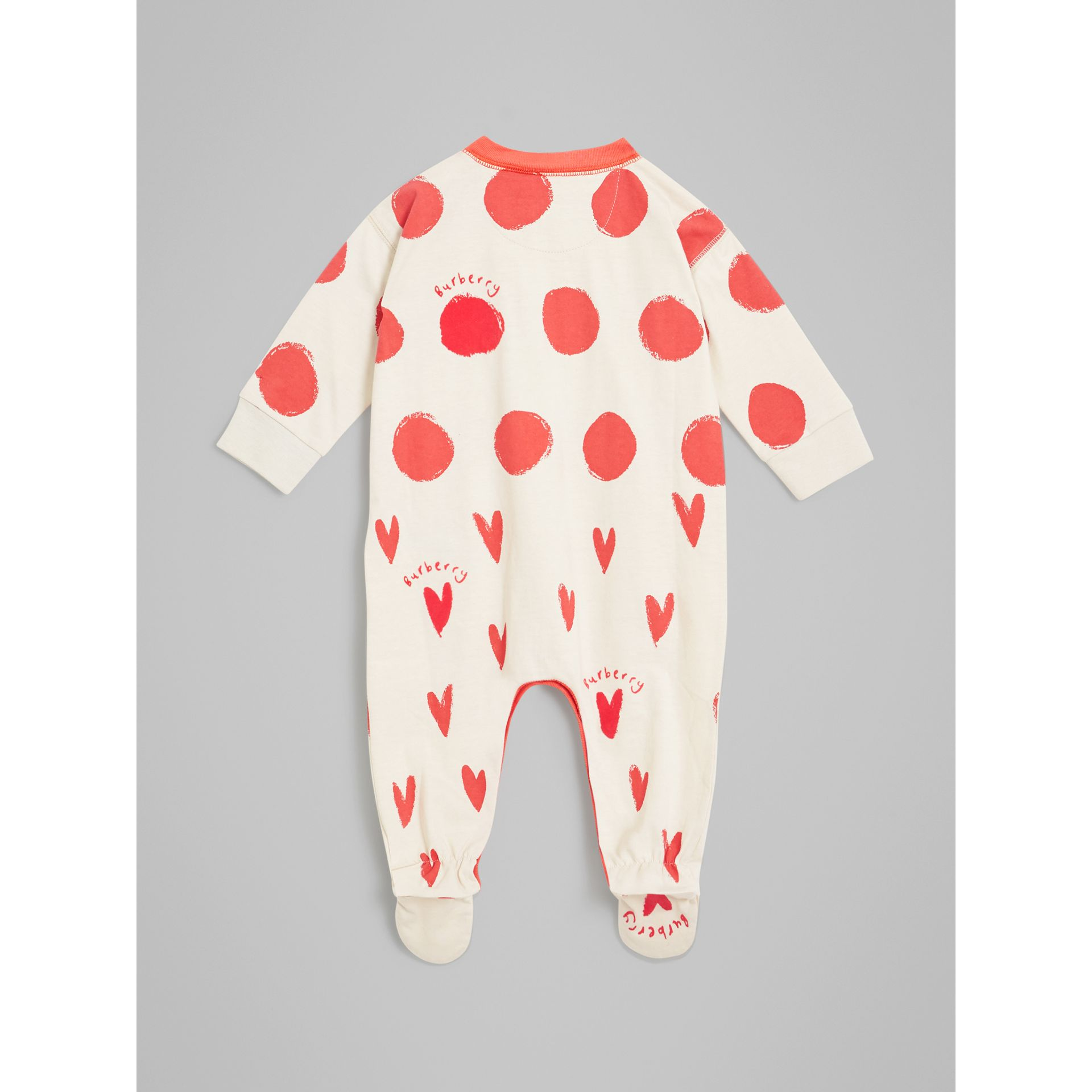 Spot and Heart Print Cotton Two-piece Baby Gift Set in Bright Red - Children | Burberry - gallery image 3