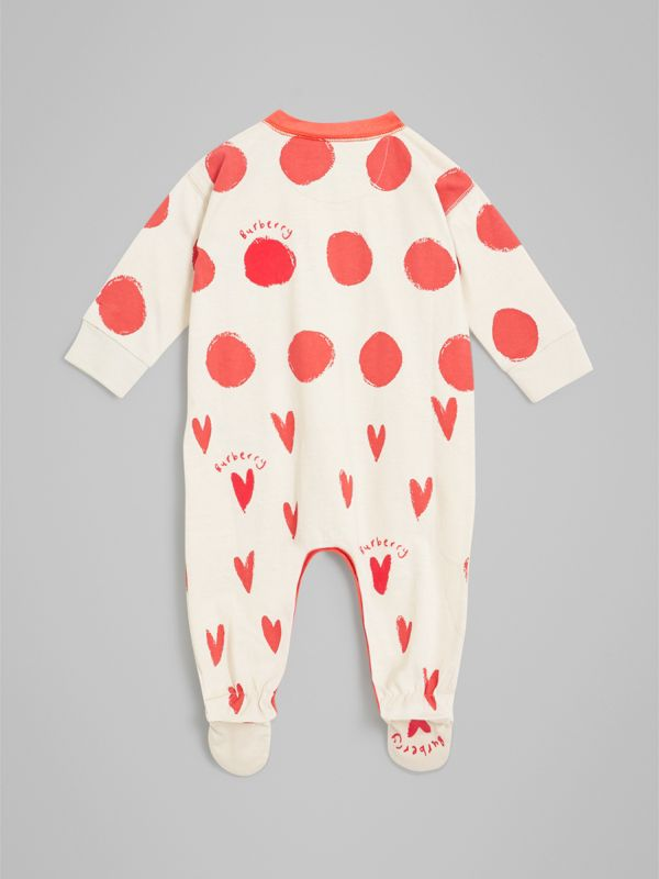 Spot and Heart Print Cotton Two-piece Baby Gift Set in Bright Red - Children | Burberry - cell image 3