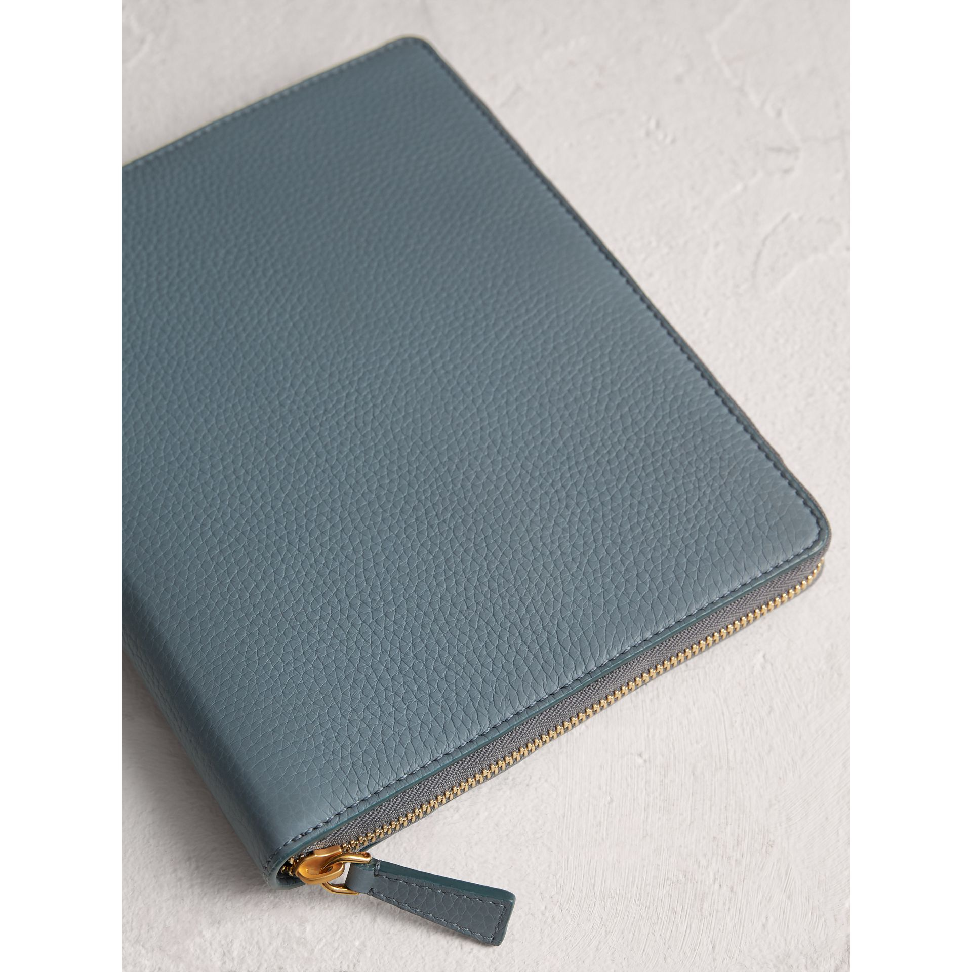 Embossed Leather Ziparound A5 Notebook Case in Dusty Teal Blue | Burberry Singapore - gallery image 2