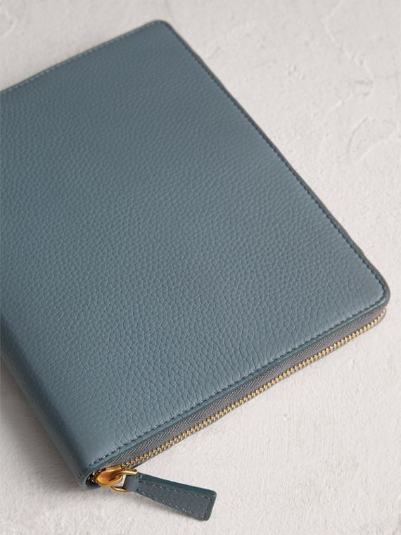 Embossed Leather Ziparound A5 Notebook Case in Dusty Teal Blue | Burberry - cell image 2