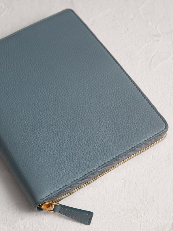 Embossed Leather Ziparound A5 Notebook Case in Dusty Teal Blue | Burberry Singapore - cell image 2