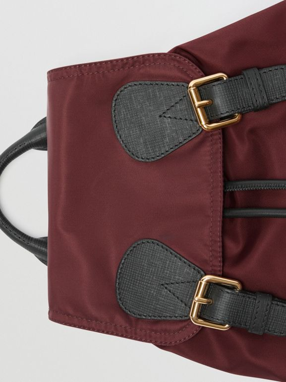 The Medium Rucksack in Technical Nylon and Leather in Burgundy Red - Women | Burberry - cell image 1