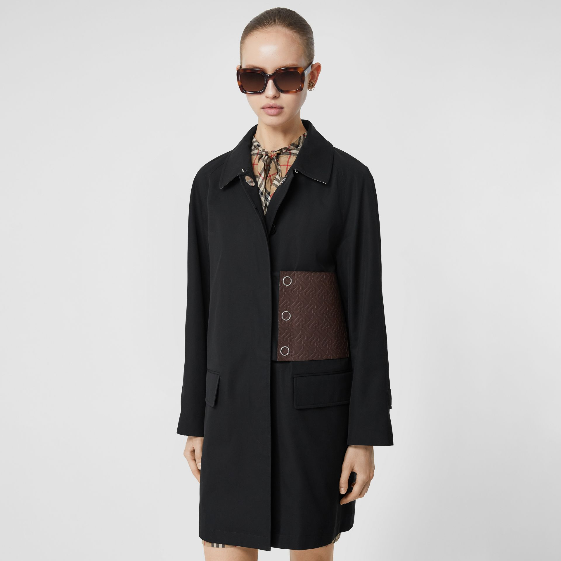 Monogram Leather Detail Cotton Gabardine Car Coat in Black - Women | Burberry - gallery image 6