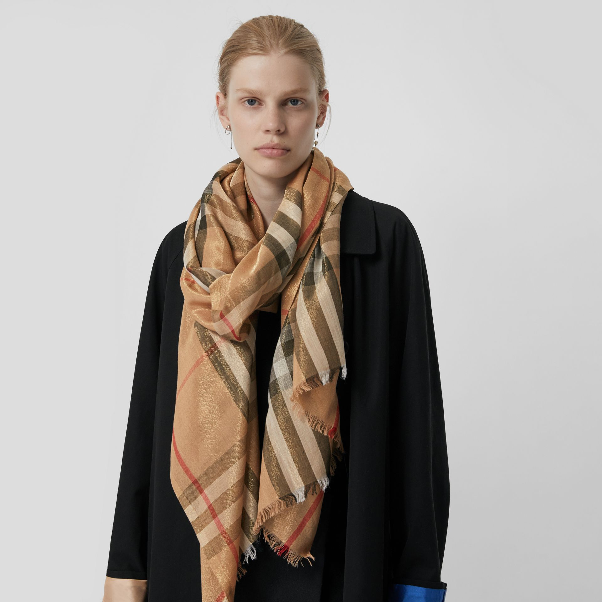 Metallic Check Silk and Wool Scarf in Camel/gold - Women | Burberry Canada - gallery image 5