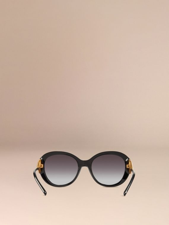 Gabardine Collection Oversize Round Frame Sunglasses in Black - Women | Burberry - cell image 3