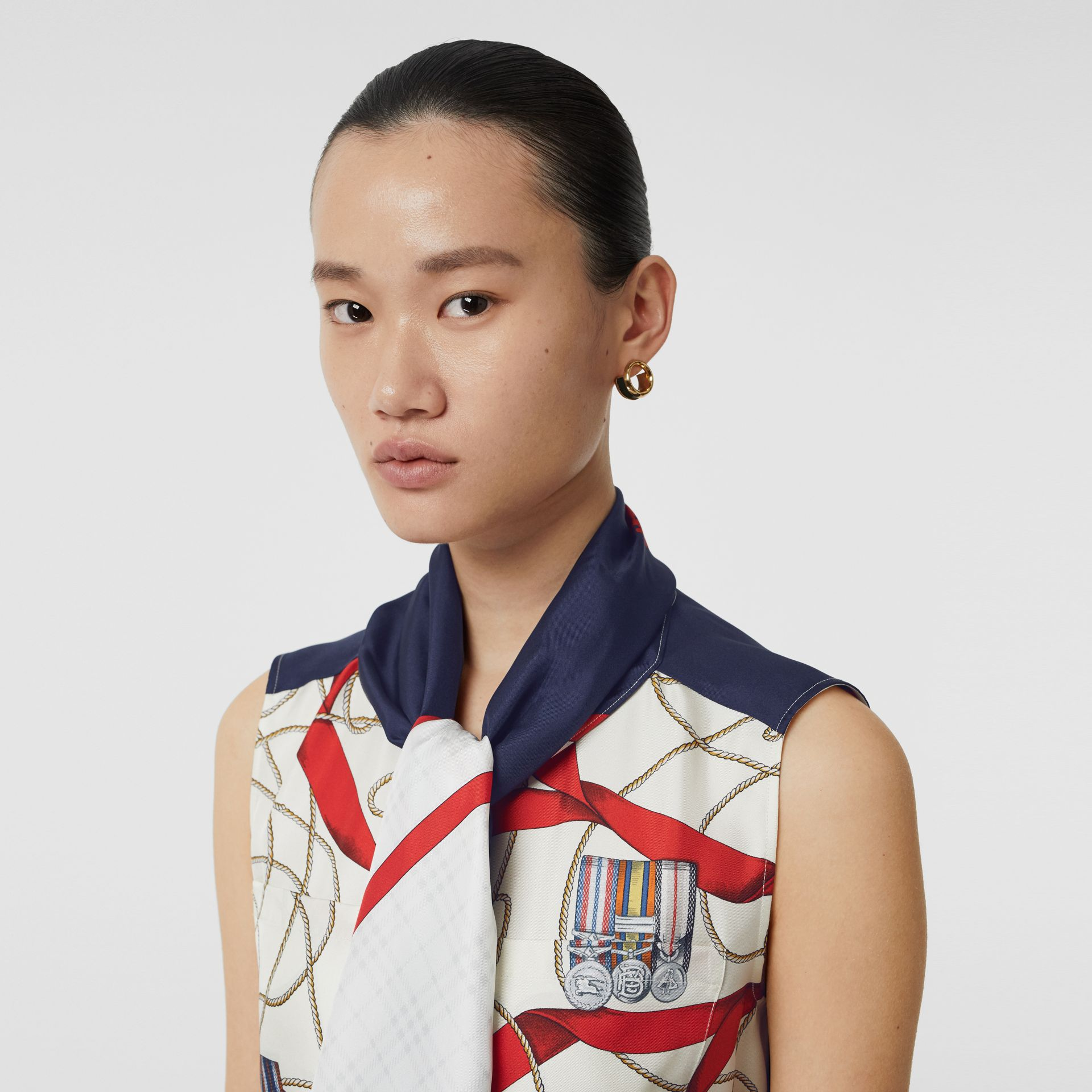 Sleeveless Archive Print Pussy-bow Blouse in Blue - Women | Burberry - gallery image 1