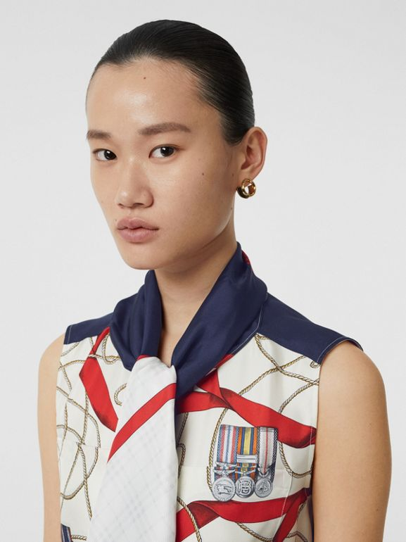 Sleeveless Archive Print Pussy-bow Blouse in Blue - Women | Burberry - cell image 1