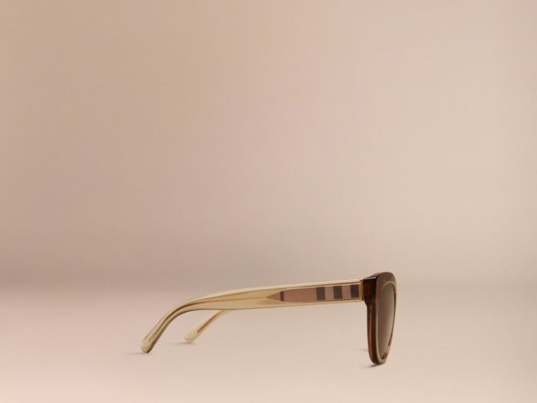 Taupe brown Check Detail Oval Sunglasses Taupe Brown - cell image 4