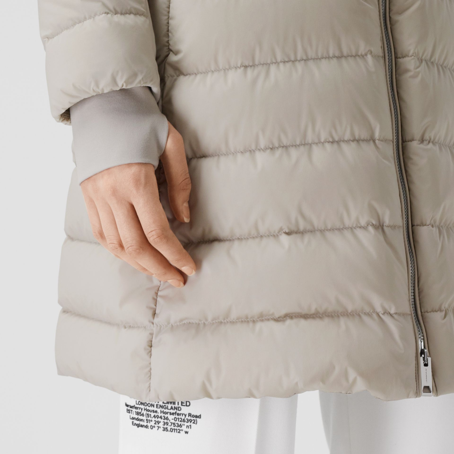 Detachable Faux Fur Trim Hooded Puffer Coat in Neutral Olive - Women | Burberry United Kingdom - gallery image 5