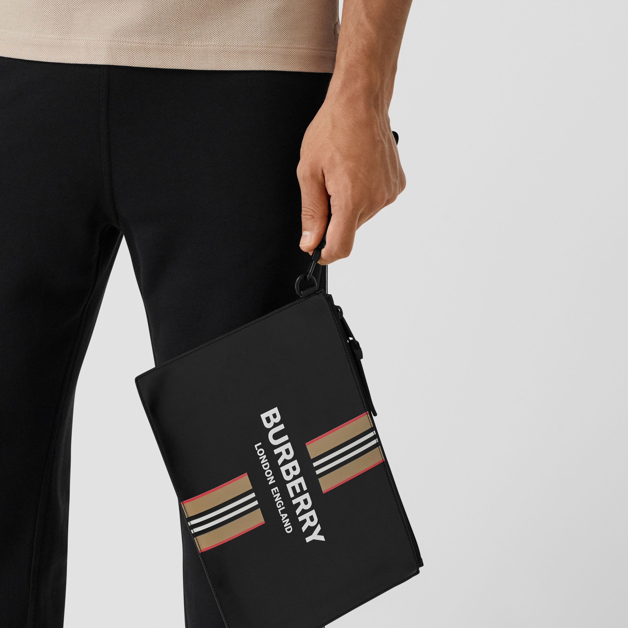 Logo and Icon Stripe Print Coated Canvas Zip Pouch in Black | Burberry - 4
