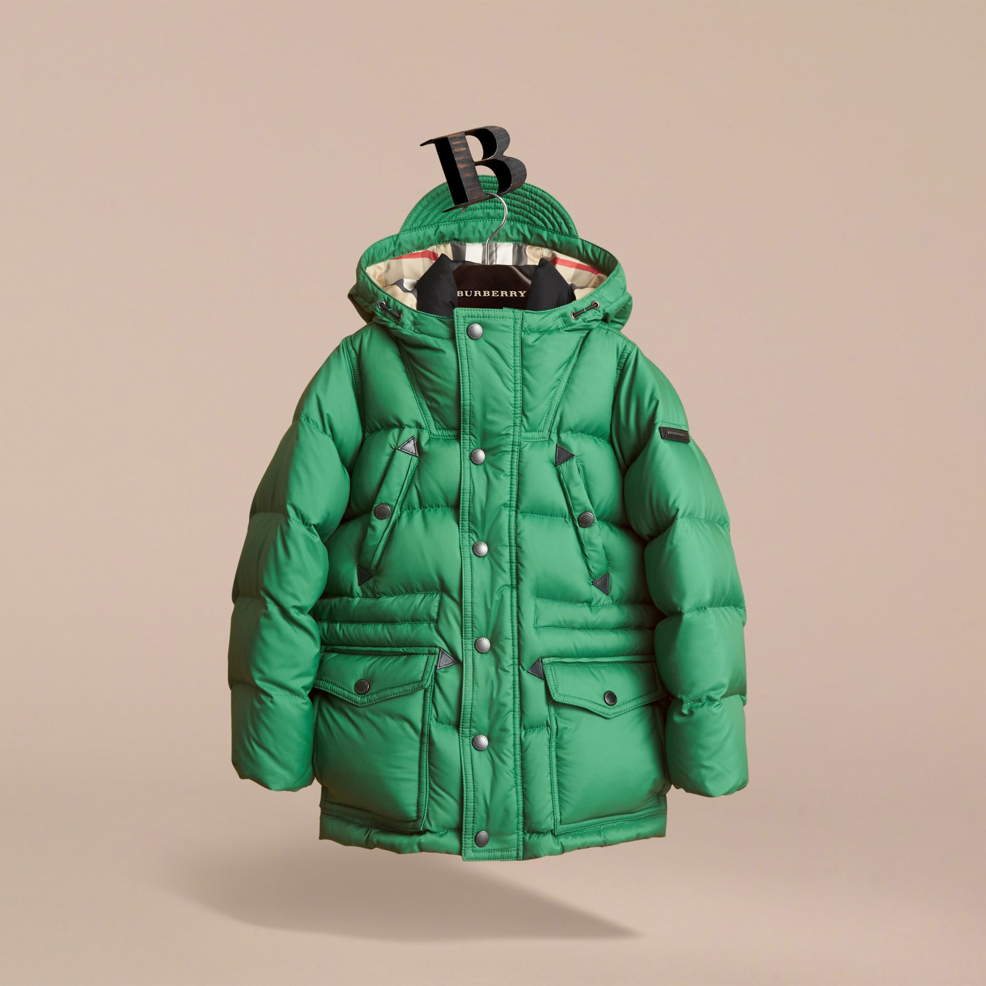 Down-filled Hooded Puffer Jacket in Pigment Green - Boy | Burberry Canada - gallery image 0