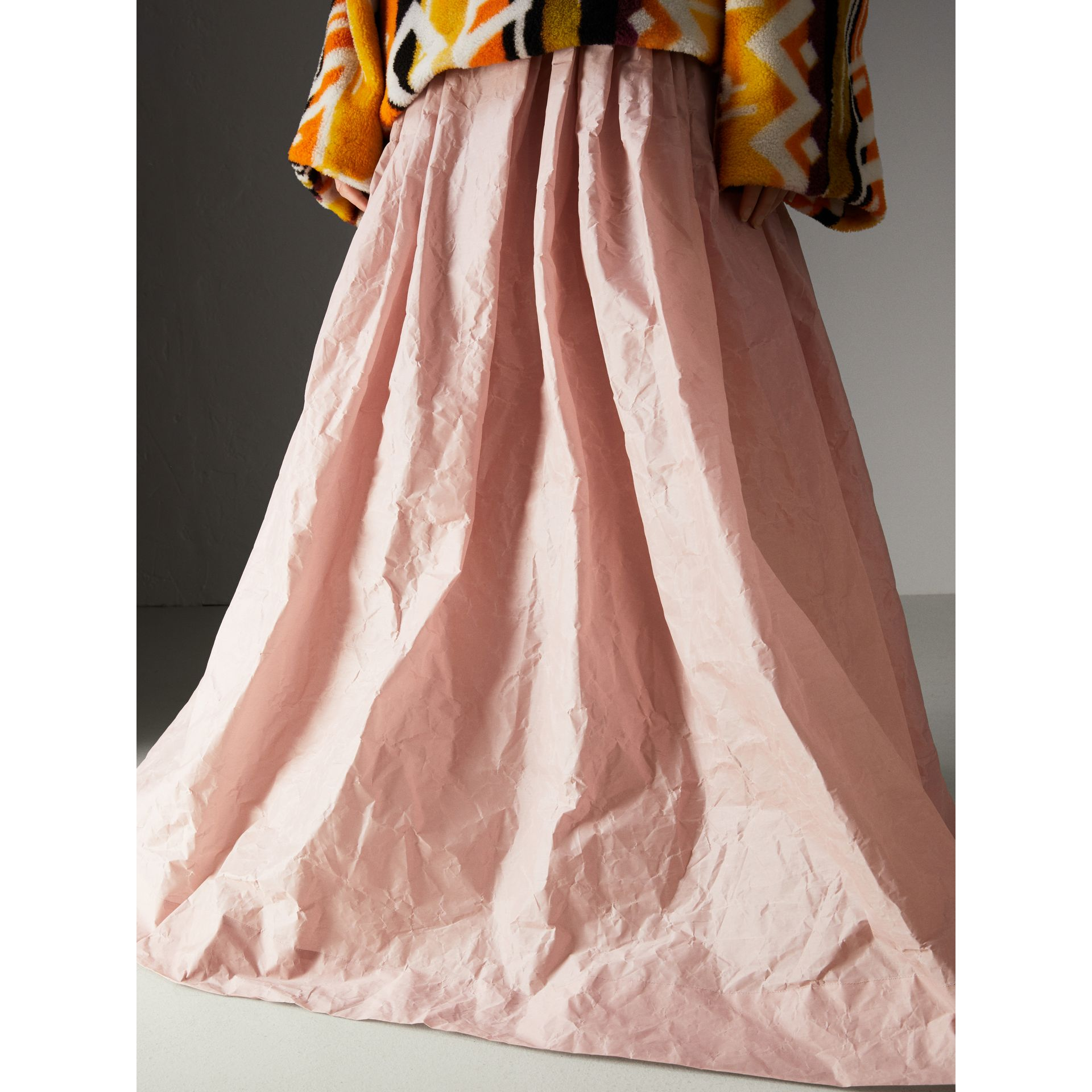 Coated Cotton Blend Maxi Skirt in Pale Rose - Women | Burberry - gallery image 4