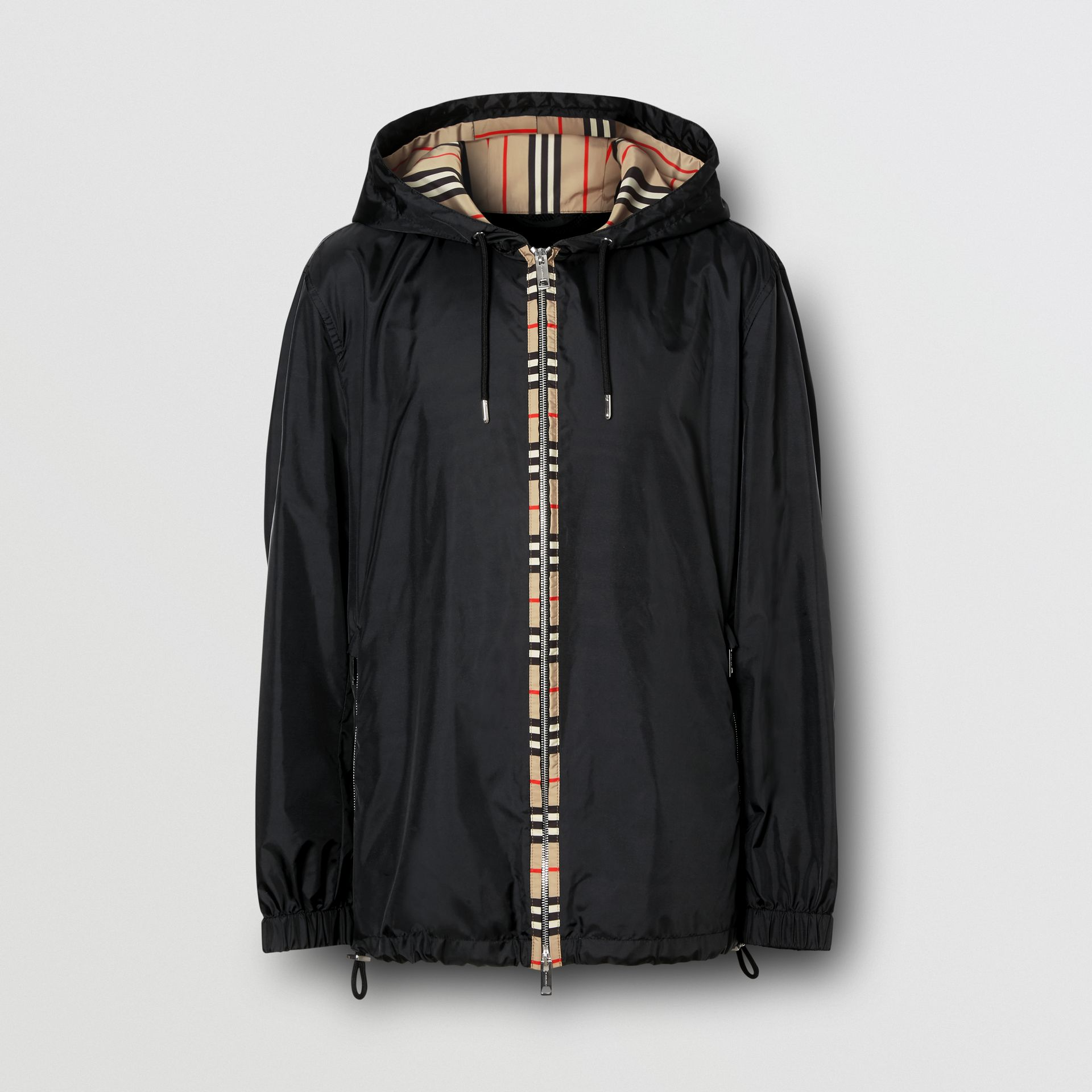 Icon Stripe Detail Nylon Canvas Hooded Jacket in Black - Men | Burberry Canada - gallery image 3
