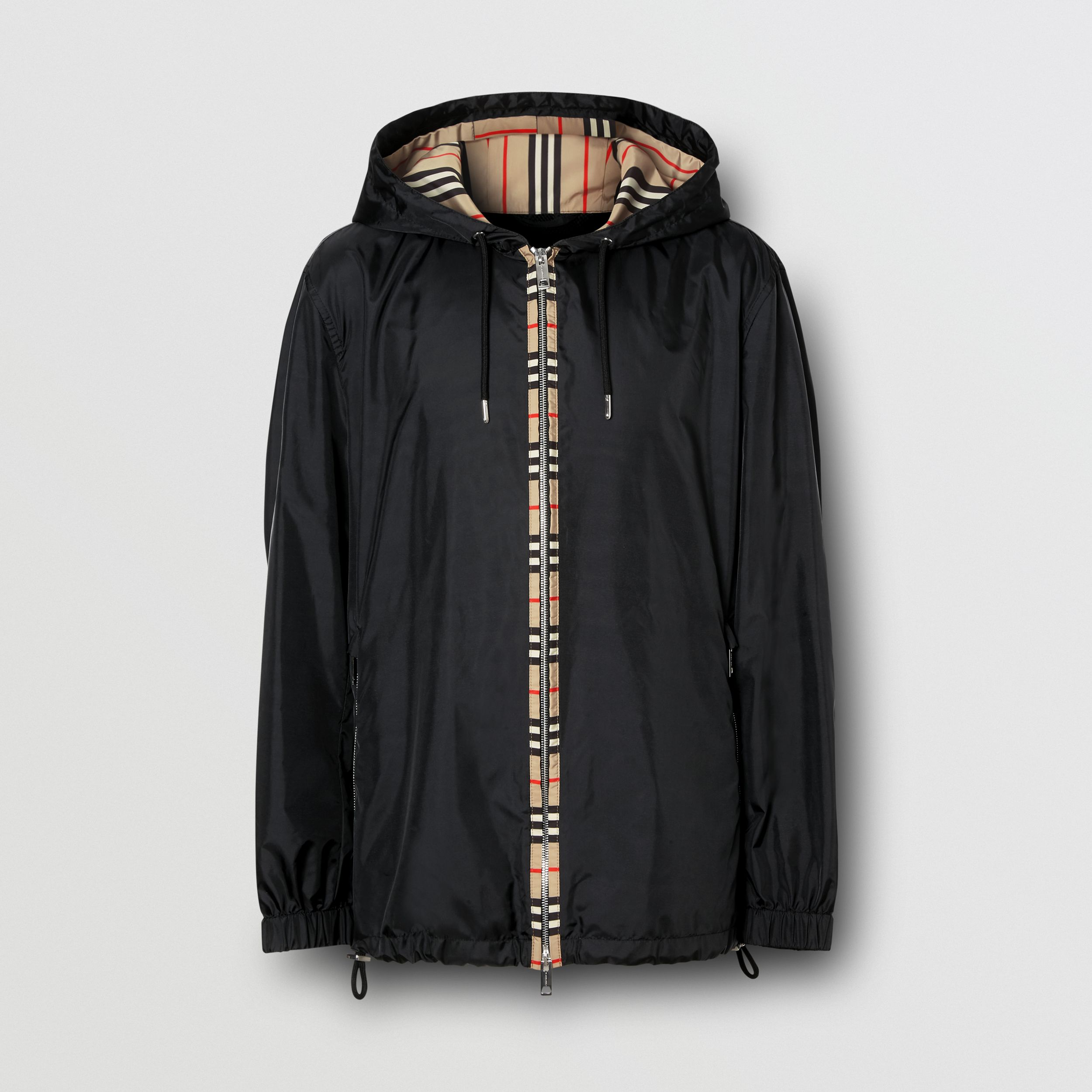 Icon Stripe Detail Nylon Canvas Hooded Jacket in Black - Men | Burberry - 4