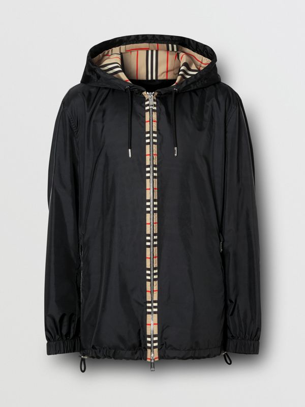 Icon Stripe Detail Nylon Canvas Hooded Jacket in Black - Men | Burberry Canada - cell image 3