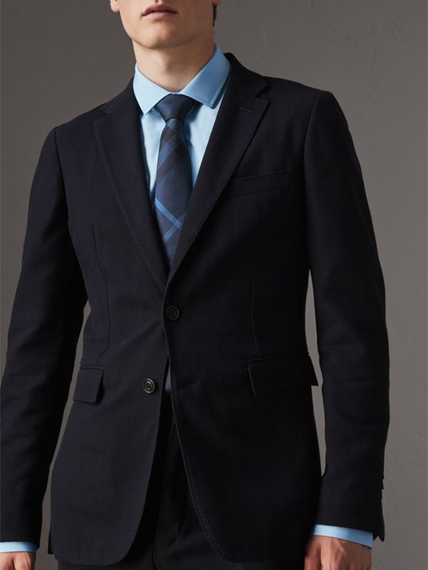 Modern Cut Check Silk Tie in Navy - Men | Burberry Canada - cell image 2