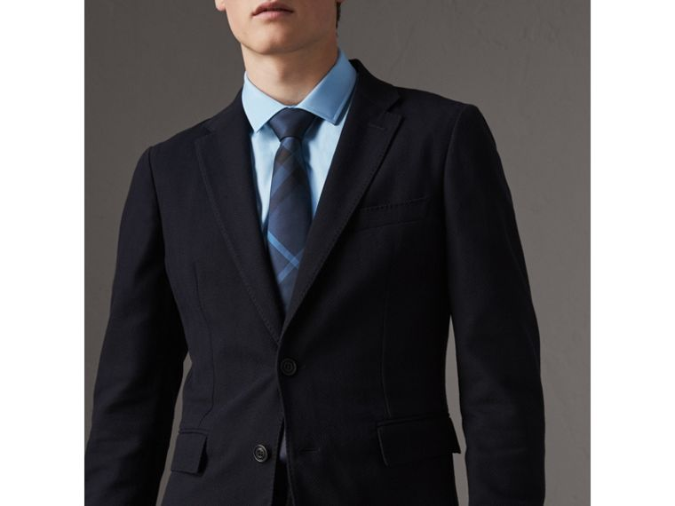 Modern Cut Check Silk Tie in Navy - Men | Burberry United States - cell image 2