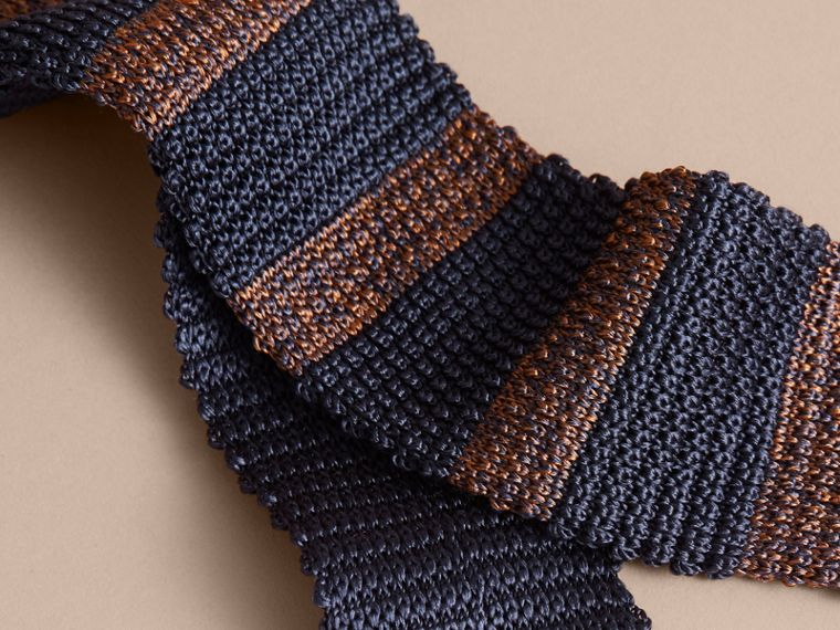 Slim Cut Two-tone Knitted Silk Tie in Navy - cell image 1