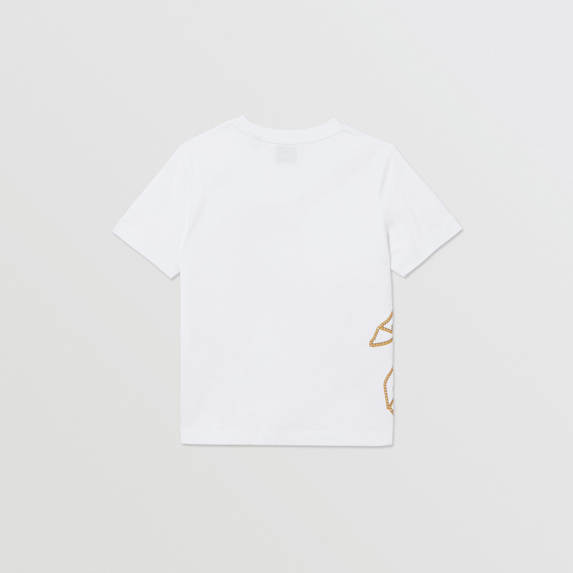 Chain Print Cotton T-shirt in White | Burberry - gallery image 3
