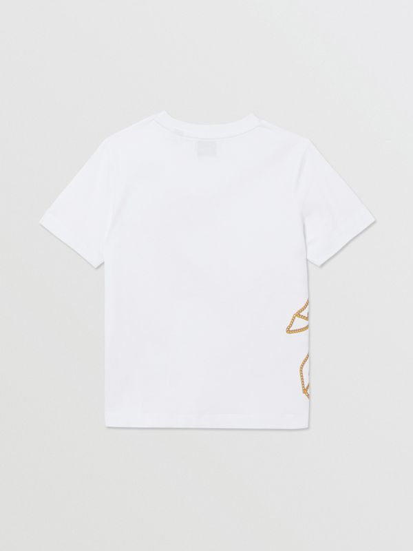 Chain Print Cotton T-shirt in White | Burberry - cell image 3