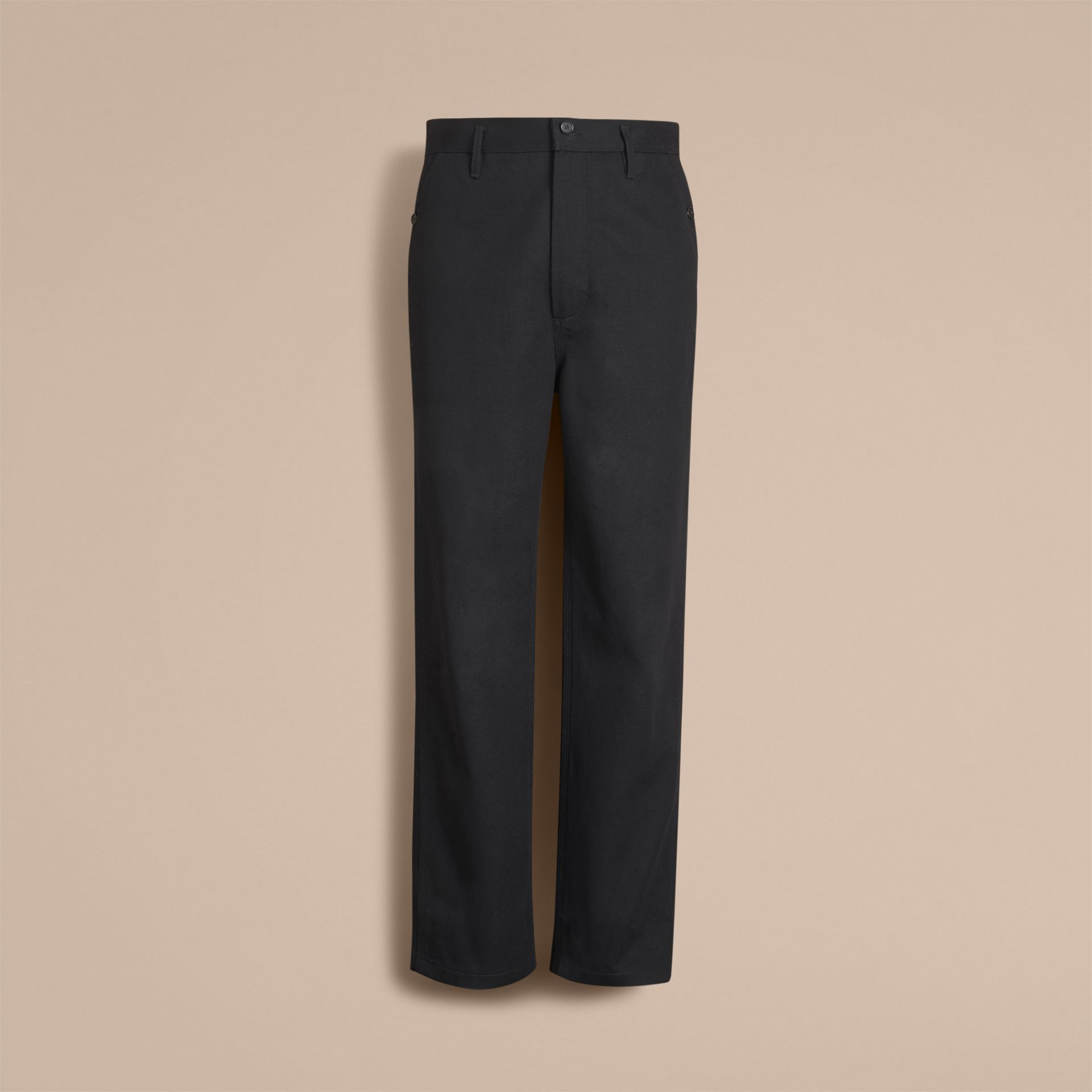 Cotton Twill Cropped Workwear Trousers - Men | Burberry - gallery image 4