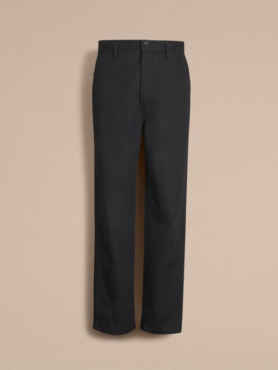 Cotton Twill Cropped Workwear Trousers - Men | Burberry - cell image 3