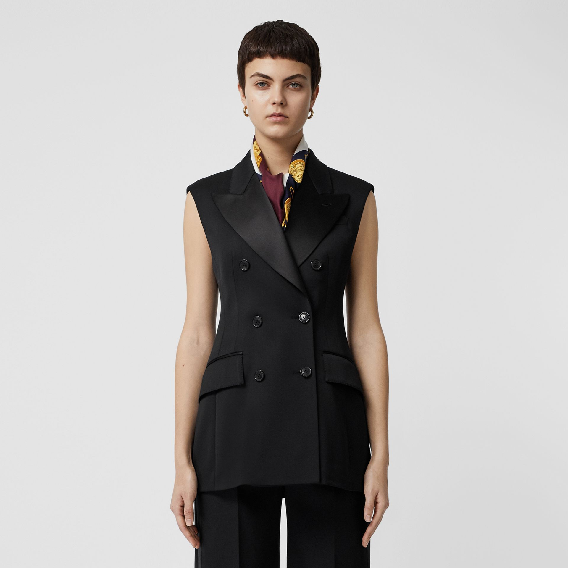 Sleeveless Stretch Wool Double-breasted Jacket in Black - Women | Burberry - gallery image 5