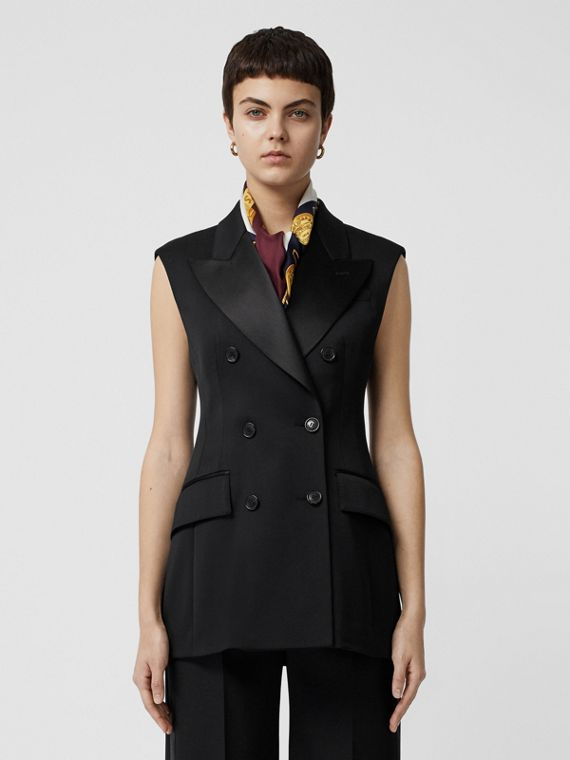 Sleeveless Stretch Wool Double-breasted Jacket in Black