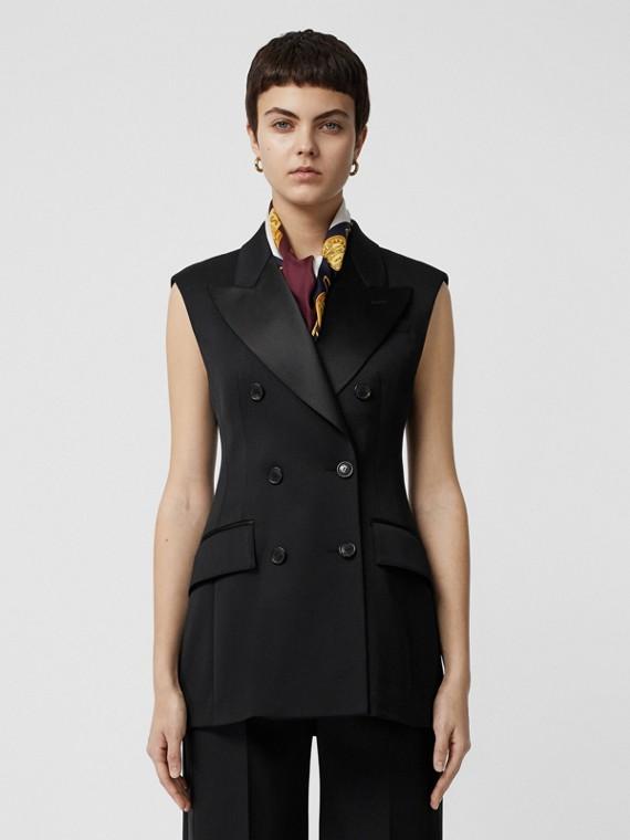 Veste à double boutonnage sans manches en laine extensible (Noir)
