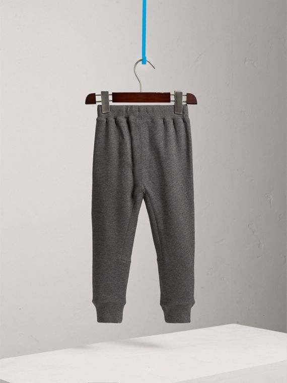 Drawcord Cotton Sweatpants in Charcoal Melange - Boy | Burberry - cell image 3