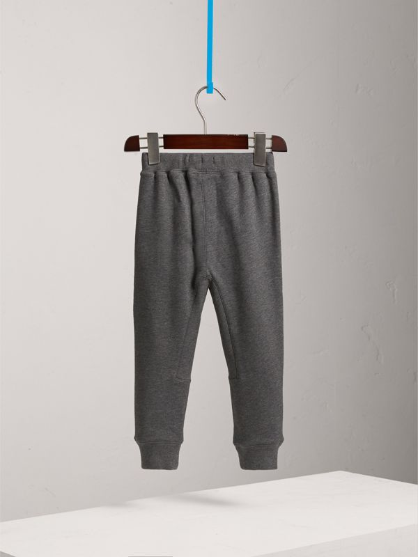 Drawcord Cotton Sweatpants in Charcoal Melange | Burberry - cell image 3