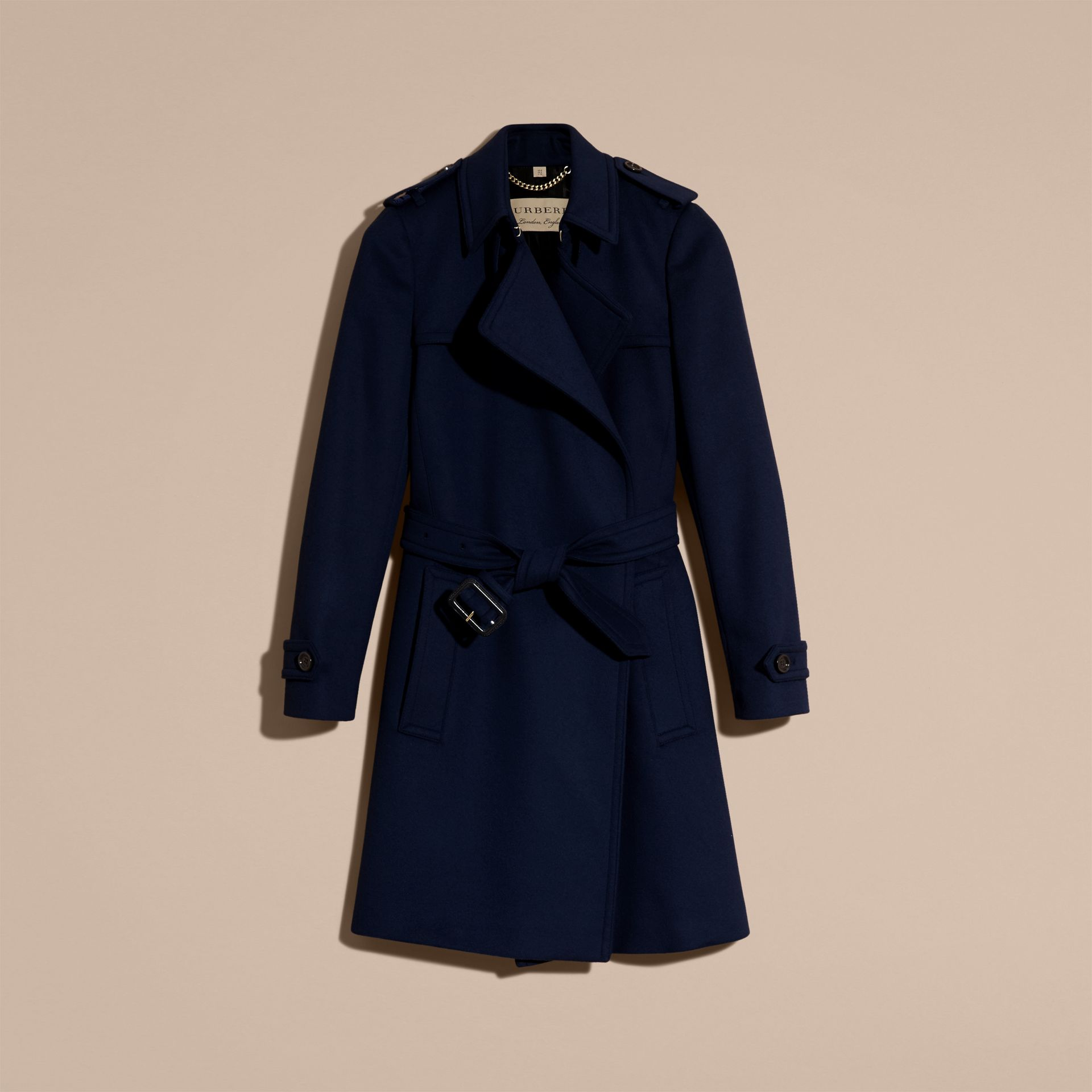 Empire blue Wool Cashmere Wrap Trench Coat - gallery image 4