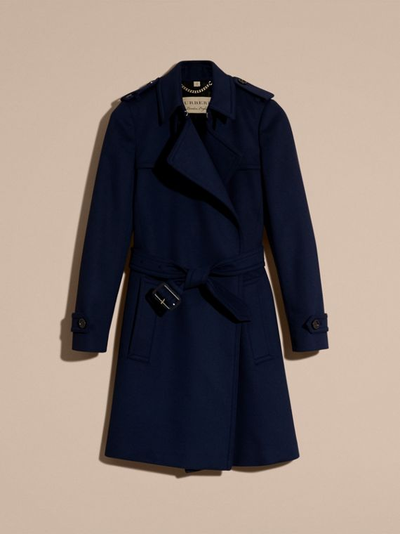Empire blue Wool Cashmere Wrap Trench Coat - cell image 3
