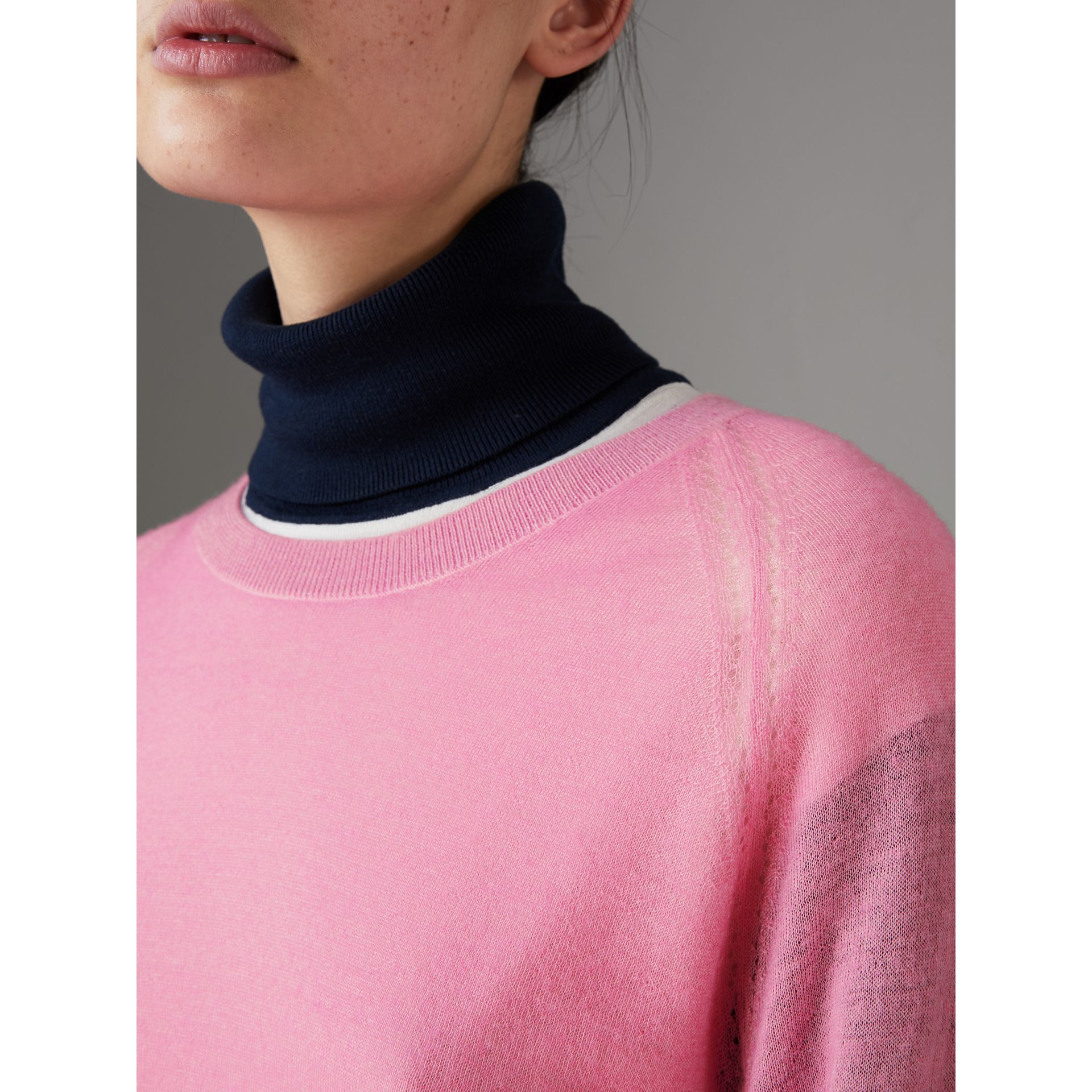 Open-stitch Detail Cashmere Sweater in Dusky Pink - Women | Burberry - gallery image 1