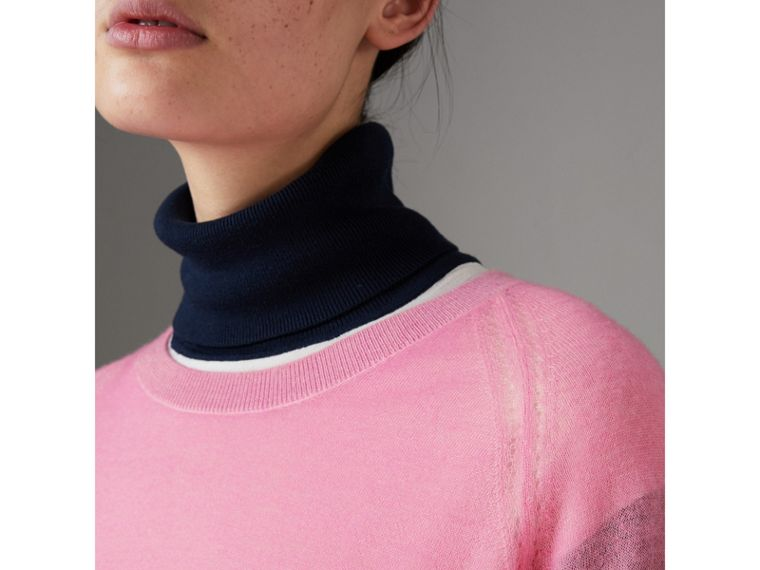 Open-stitch Detail Cashmere Sweater in Dusky Pink - Women | Burberry - cell image 1