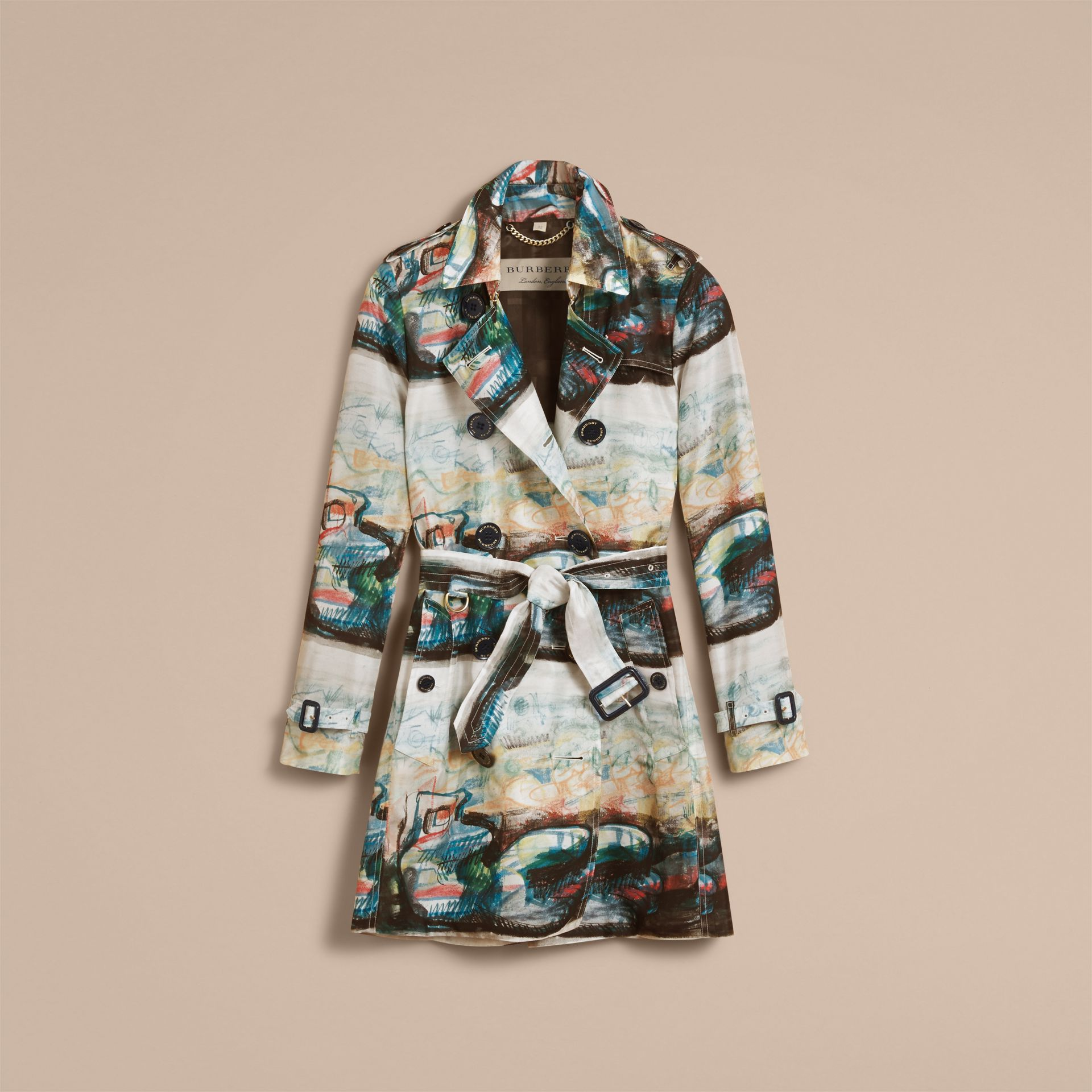 Reclining Figure: Bunched Print Silk Trench Coat in Natural White - Women | Burberry - gallery image 4