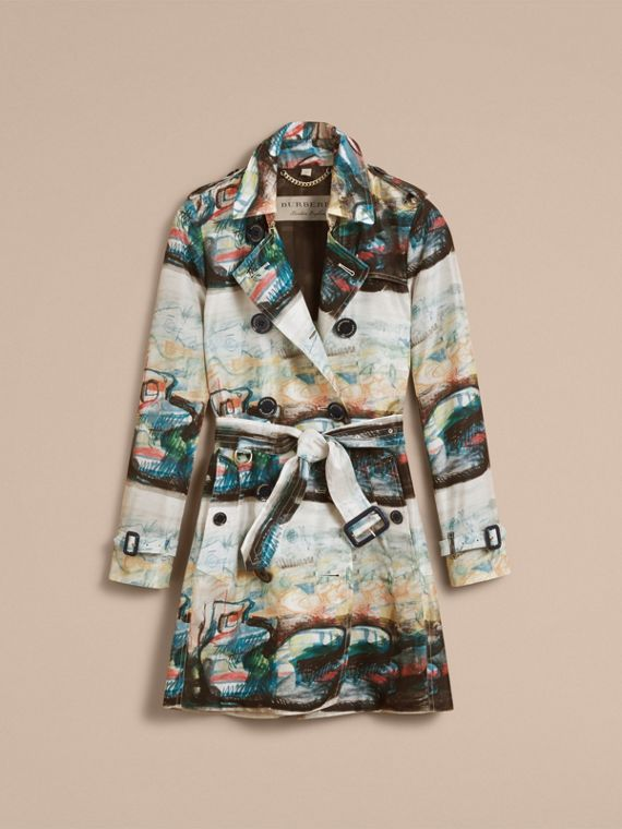 Reclining Figure: Bunched Print Silk Trench Coat in Natural White - Women | Burberry - cell image 3