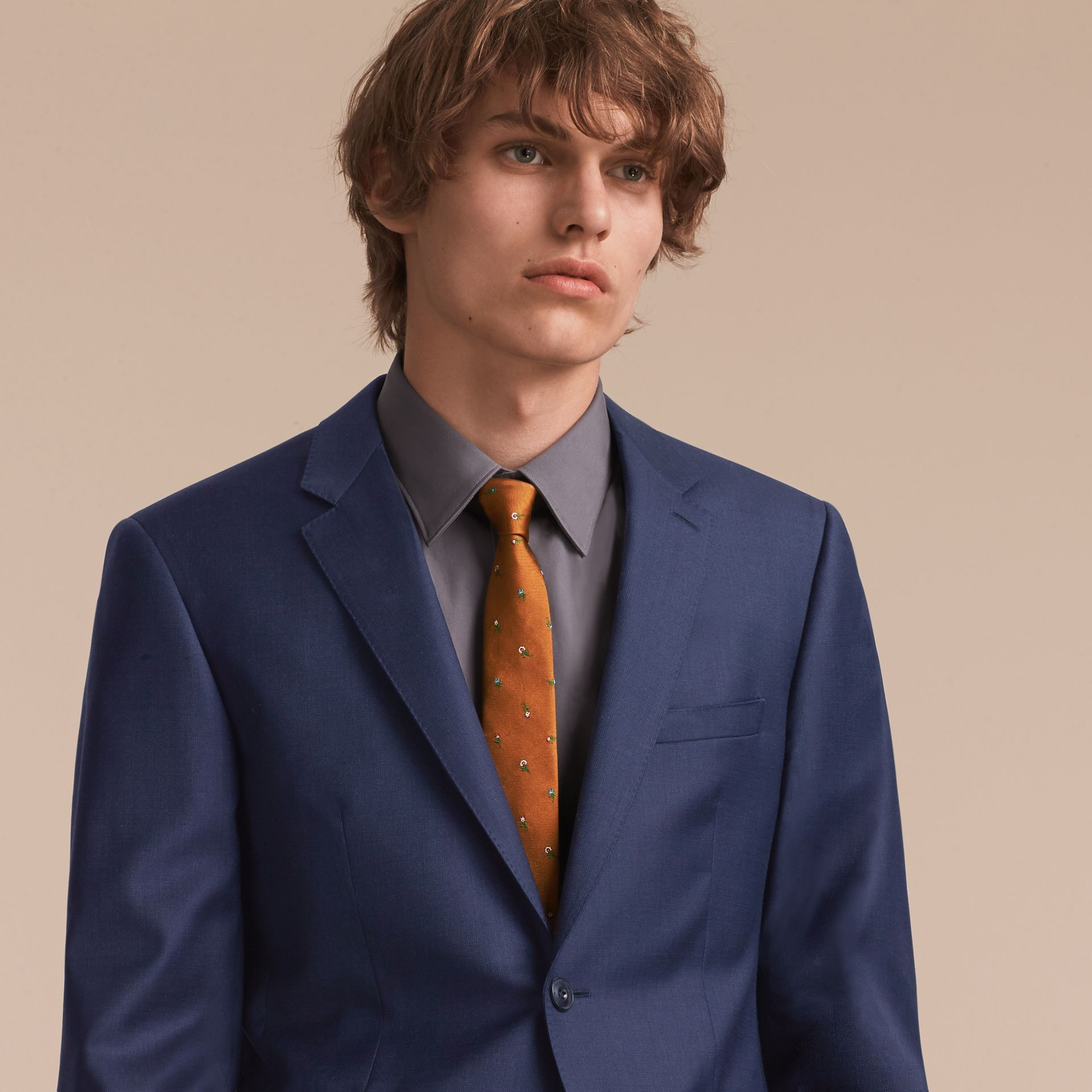 Slim Cut Floral Silk Jacquard Tie in Copper - Men | Burberry - gallery image 3
