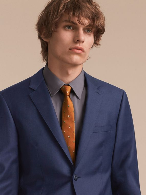 Slim Cut Floral Silk Jacquard Tie in Copper - Men | Burberry - cell image 2